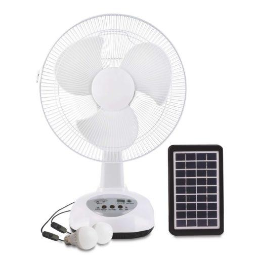 """Solar Fan 12"""" 18"""" Rechargeable Fan Kit with LED Light"""
