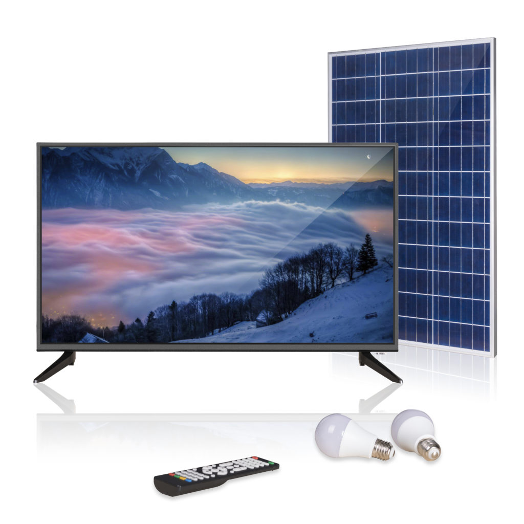 rechargeable all-in-one solar tv kit